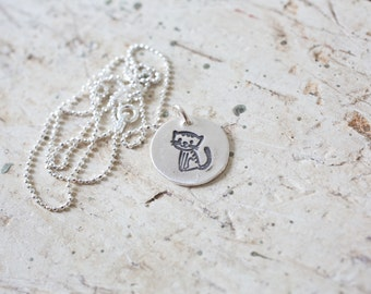 Cat Necklace, Kitty Necklace, Silver Cat, Silver Kitty, Cat Pendant, Kitty Pendant, Small Kitten, Animal Jewelry