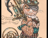Clara Steam Punk Ferret Signed Art Print-You Choose-2.5x3.5, 5x7 or 8x10 In.,Bounty Hunter Pocket Watch Pistol Gun Victorian Woman Hat