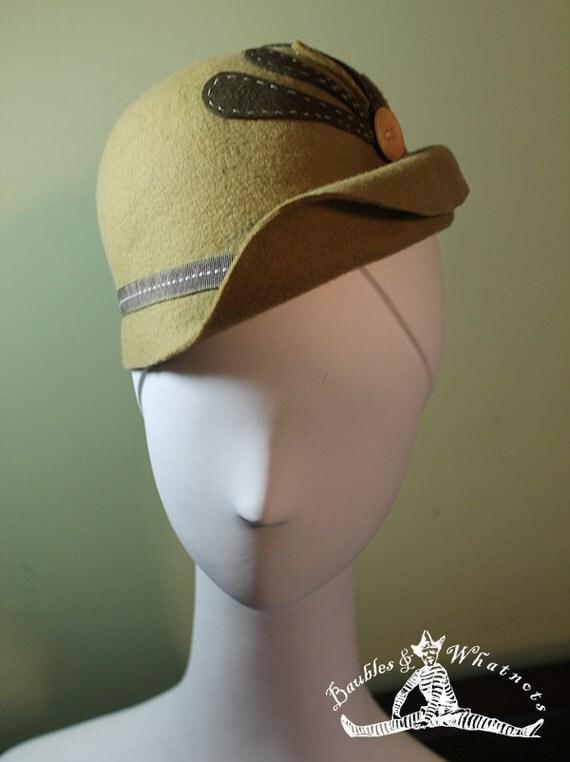 Green Wool Women's Cloche OOAK - Downton Abbey Hat - 1930s Hat - 1920s Hat - Vintage Inspired Hat