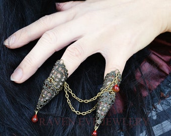 Vampire Queen Fierce Brass Filigree Jeweled Nail Armor Ring Set Double Attached Rings