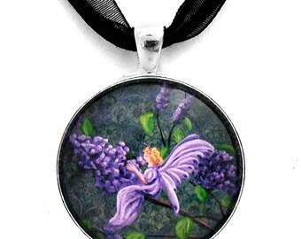 Lilac Flower Fairy Necklace Art Handmade Jewelry Pendant Boho Lavender Purple Fantasy