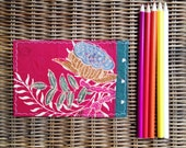 Happy Lotus Fabric Postcard - One of a kind - Fuschia