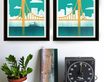 Pittsburgh Art Screenprint - City of Bridges, Diptych Prints 1 & 2 Pittsburgh Prints Silkscreen Wall Art and Wall Decor Bridge Art