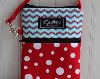 Aqua Chevron and Big Red Dots 2 Pocket Padded Gadget, iPhone6, iPhone 6 Plus, iPod, cellphone, Samsung Galaxy, camera