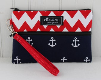 Red Chevron & Anchors Away Padded Wristlet Mini Purse