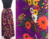 Purple Maxi Skirt - Floral Print in Bright Florescent Neon Colors - Flowers & Leaves in Pink, Orange, Yellow, Green - Large XL - Vintage 60s