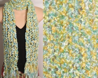 Sale Hand Knit Scarf Ribbon Blue Yellow Fringed Polyester Lace