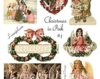 PINK CHRISTMAS digital collage sheet Victorian angels holly tag Santa printable vintage images altered art ephemera supplies crafts DOWNLOAD