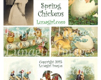 SPRING CHICKENS digital collage sheet DOWNLOAD Victorian Easter chicks eggs children vintage images antique postcards ephemera altered art