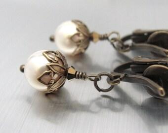 Clip On Pearl Earrings, Swarovski Crystal Pearls, Cream Pearl Earrings, June Birthstone Pearls, Bridesmaid Jewelry, Clip On Dangle Earrings