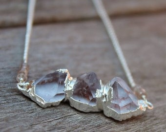 NECKLACE - Simply Lovely Crystal Quartz with Silver Edges and Sterling Silver Chain Necklace
