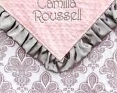 Satin Ruffle Baby Blanket - Personalized Minky Blanket , Baby Girl Damask Blanket