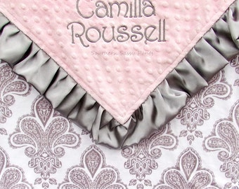 Satin Ruffle Baby Blanket - Personalized Minky Blanket , Baby Girl Damask Blanket