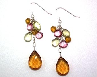 Maelle - Citrine, lemon quartz, mystic pink quartz, and golden tourmaline earrings