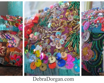 Carnivale Clutch Bag, Vintage Embroidery. Beaded, Flower Brooch, Colourful, Bohemian Bag, Gypsy, Boho, Circus, Elephant
