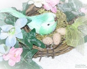 Spring Table Decoration, Birds Nest Decoration, Easter Decoration, Spring Decor, Easter Decor, Bird Decor, Shabby Easter, Cottage Easter
