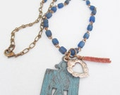 PHOENIX Bird of Strength & Renewal Necklace Blue glass Trade Beads HEART Love Milagros and Tassel