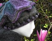 Medium Victoria Tam in Ninja Colorway, Handknit,  Lavender, Green, Gray, Charcoal, Acrylic Yarn, Wearable Art