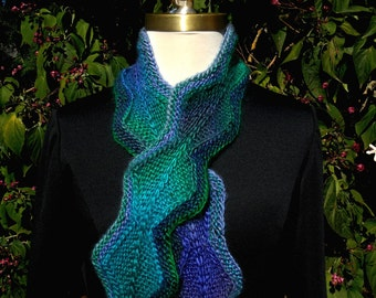 Chain of Diamonds Knit Scarf in Dragonfly Colorway blues, greens, purples