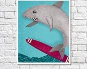 Surf Shark Nursery Print Little Boys Surfer Decor Ocean Nursery Baby Boy Beach Themed Room Kids Wall Art Shark Picture Surf Bathroom Poster