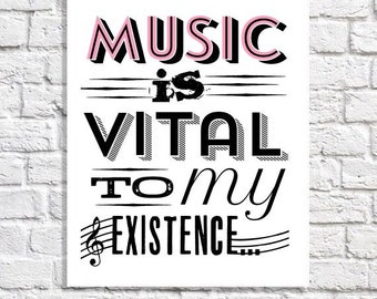 Music Art Print Gift For Musician Music Lover Music Teacher Typography Quote Teen Girl Wall Decor College Dorm Room Poster Apartment Sign