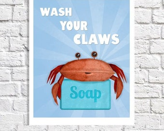 Wash Your Hands Print Crab Art Blue Bathroom Rules Sign Beach Bathroom Kids Wall Decor Wash Your Claws Quote Pictures For Children Boys Art
