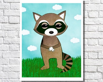 Nursery Animal Art Raccoon Art Woodland Nursery Print Children Illustration Wall Art For Kids Animal Pictures Gender Neutral Baby Room Decor