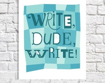 Wall Art For Men's Office Decor Typographic Print Writing Quote Aspiring Author Gift For Him Motivation Poster Teen Boy Writer College Dorm