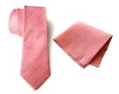 """Coral linen necktie. Pink silk & linen blend men's tie, herringbone weave. """"Brush Park"""" rustic necktie. Pocket squares available too!"""
