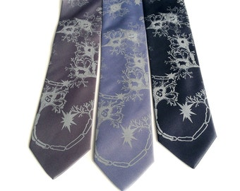 "Neuron Necktie. Axon & Dendrite silkscreened mens necktie. ""Fried Brains."" Neuroscience, neurologist, brain surgeon, psychology gift."