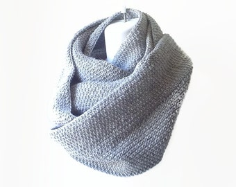 Grey Heather Infinity Scarf Wool Blend Gray Scarf Men Women SAMANTHA Ready to Ship - Winter Fashion