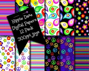 Hippie Digital Papers, Hippie Daze Digital Scrapbooking Paper, Printables, Background Papers, Peace Signs, Groovy Flowers, Hippie Style Art