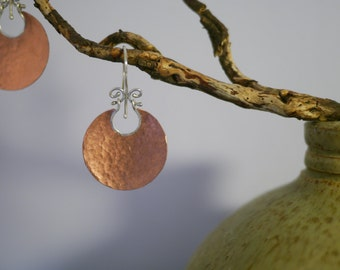 Hammered swinging copper dish earrings