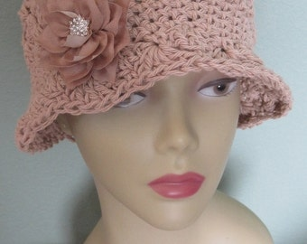 Elegant All Natural Cotton Cloche Hat Flowers Mothers Day Sun Rose Beige