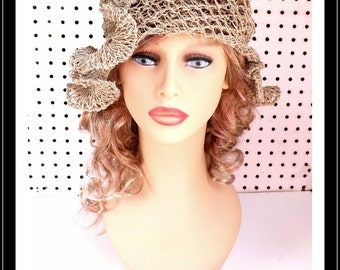 Crochet Pattern Hat, Crochet Sun Hat for Women, Crochet Hat Pattern, Beanie Hat Pattern, Womens Hat Hemp Cord CYNTHIA Beanie Hat
