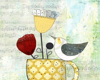 Kitchen Art Print, Contemporary Bird Art Reproduction , Canvas Painting, Giclee Print , Whimsical Mixed Media Collage Art