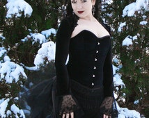 Velvet Enchantress - Gothic Victorian Bustle Ball Gown