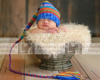 Newborn Baby RAiNBoW HaT Knit BaBY PHoTO PRoP Long Tail Stocking Cap MuLTiCOLOR Boy Girl Stripe TaSSeL ELF BeANiE Coming Home MuNCHKiN Toque
