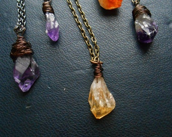 viscera - raw citrine pendant amulet necklace -- brass or gunmetal chain  -- gifts for women under 25 dollars
