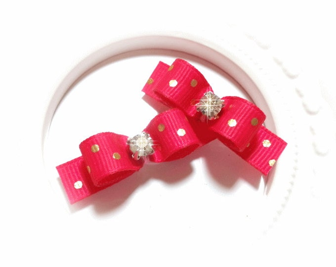 Fuchsia Dog Bow, Pink Dog Bow, Dog Bow with Dots, Girl Dog Bow, Pink Grooming Bow