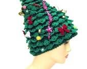 Christmas Tree Hat, crochet hat, creative hat, green hat, unusual hat, womens hat, festive hat, funky hat, crazy hat