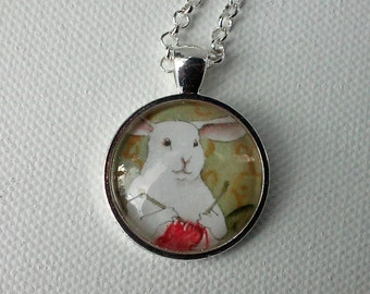 Knitting Bunny - Round Pendant - Unique Rabbit Necklace