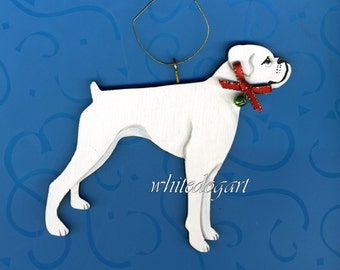 Handpainted Uncropped White Boxer Ornament