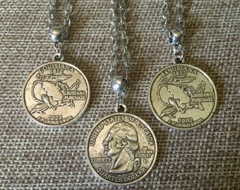 Louisiana Quarter Charm Necklace - Silver Louisiana Coin Necklace - Fathers Day Gifts
