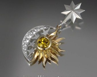 SUN and MOON Eclipse silver and 14k gold pendant with Golden Beryl