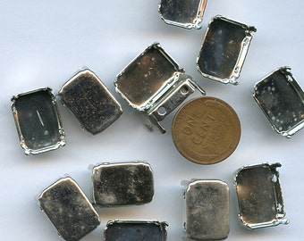 Setting Sew On (20) 13 mm x 18 mm Rectangle Octagonal Silver Metal Cup Pronged Prong Set sss1318 MORE AVAILABALE