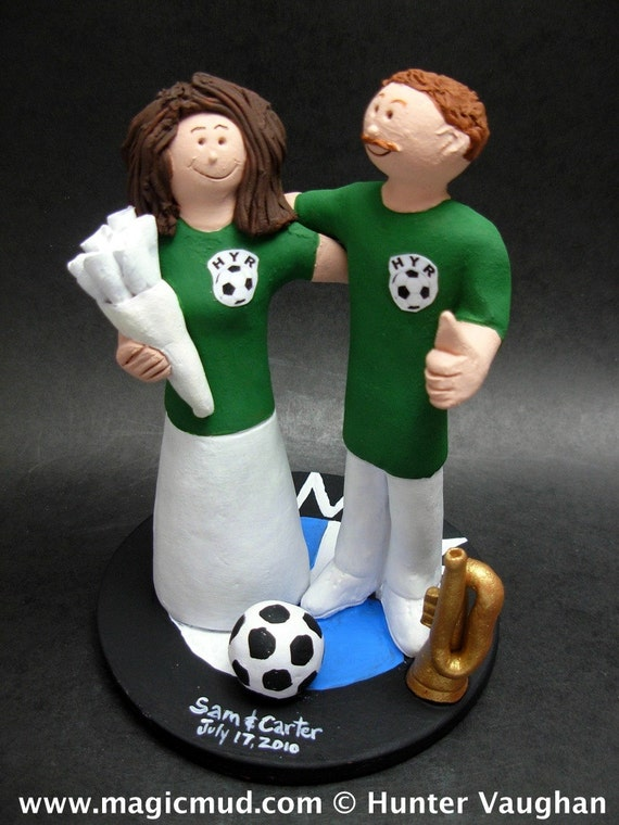 soccer player wedding cake toppers soccer wedding cake topper soccer and groom wedding 20273