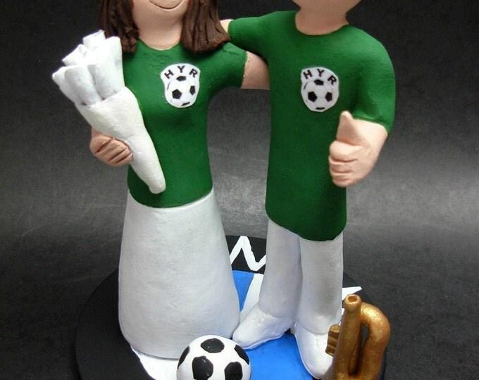 Soccer Wedding Cake Topper Bride And Groom Athletes