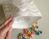 Reusable Sandwich Bag, Reusable Snack Bag, Orange and Yellow Chevron Snack Bag, Lunch Bag