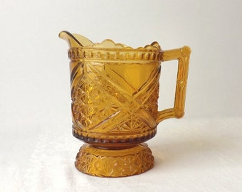 Amber Glass Pitcher, Antique EAPG 1885 Richards and Hartley Daisy & Button Crossbar Pattern